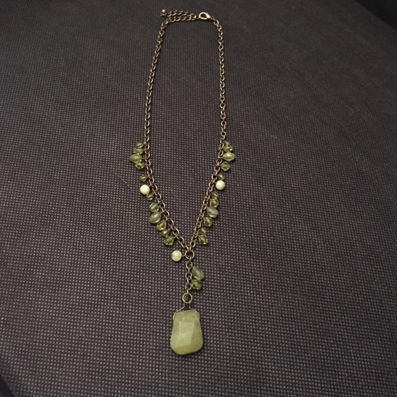 Serpentine Stone Bar Necklace
