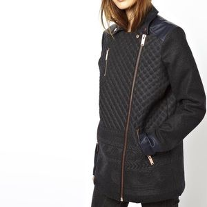 ASOS Biker Coat in Pattern with PU Trims