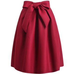 Red knee length / midi skirt