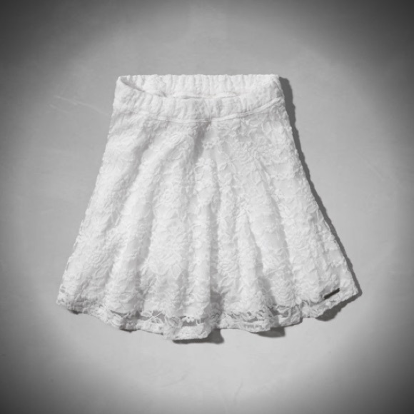 61d4b192e Abercrombie & Fitch Skirts | White Lace Highrise Skater Skirt ...