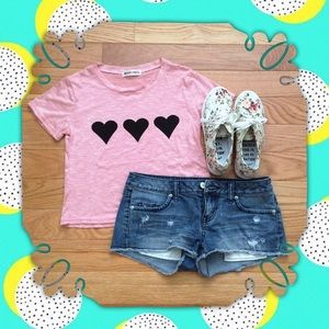 Tops - Pink Heart Crop Top