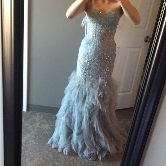 Jovani Dresses | Mermaid Style Prom Dress Grey Color | Poshmark
