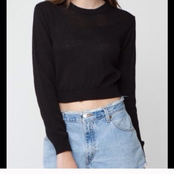 17% off Brandy Melville Sweaters - Black Cropped Sweatshirt from ...