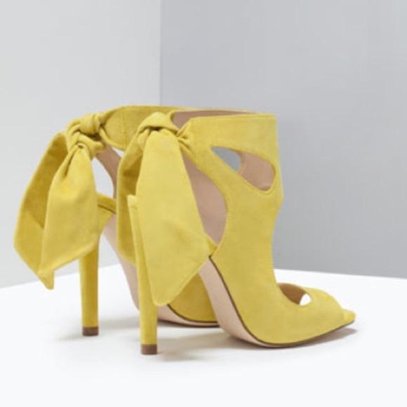 Zara - ZARA Yellow Suede Bow Heels from Inda&39s closet on Poshmark