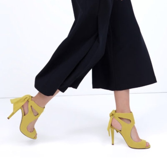 Zara - ZARA Yellow Suede Bow Heels from Inda's closet on Poshmark