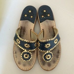 Jack Rogers Nantucket gold and midnight sandal