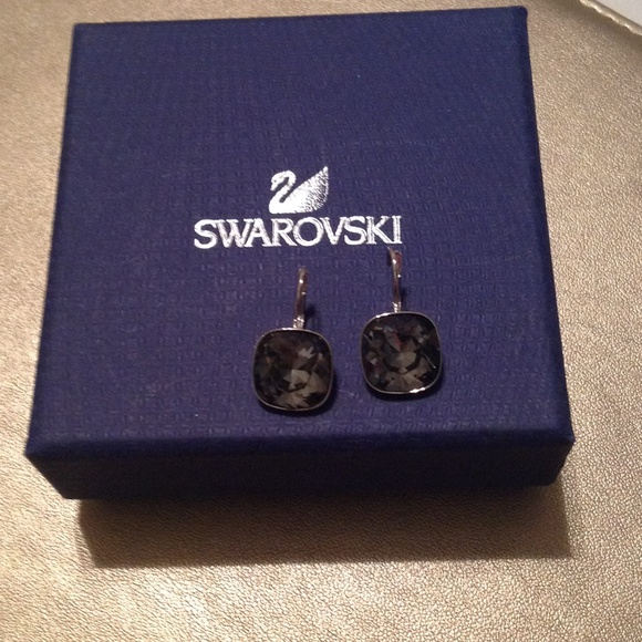 f1053e5a6 Swarovski Jewelry | Bella Square Earrings In Pewter Crystal | Poshmark