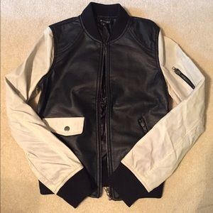 Zinga Jackets & Blazers - Ivory & Black Bomber Jacket