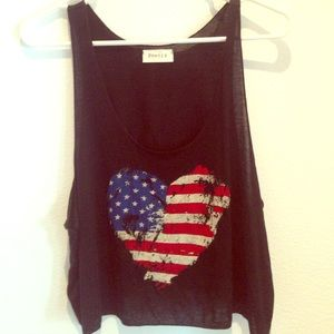 Tops - American Flag Heart Cop Top