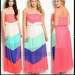 Dresses & Skirts - Chevron strapless long maxi dress summer beach