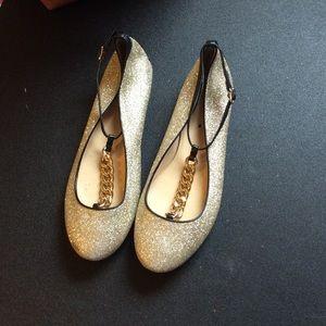 J. Crew T-Strap Ballet Flats in Glitter
