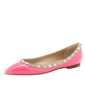 Valentino Shoes - AUTHENTIC Valentino Rockstud Flats in Pink Patent