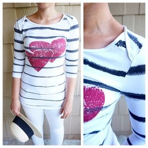 Tops - Stripped Heart Top