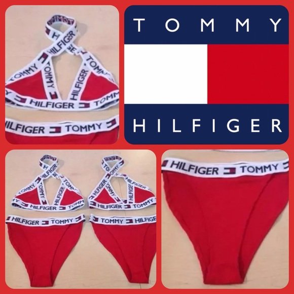 972153f86227d Tommy Hilfiger High Waisted Swimsuit Red