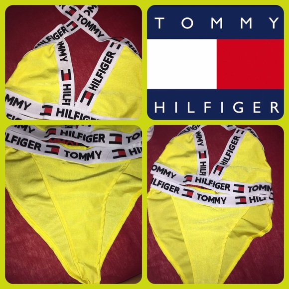 5b542b126775d Tommy Hilfiger High Waisted Swimsuit in yellow