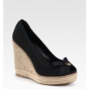 Tory Burch Shoes - Tory Burch Jackie Canvas Espadrille Wedge in Black