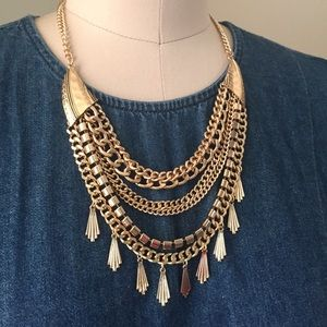 Jewelry - Multi chain gold tone necklace bib necklace