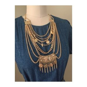 Jewelry - Gold coin layered necklace and coin earrings set