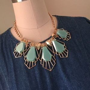 Jewelry - Gold tone and turquoise stone necklace and earring