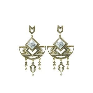 Jewelry - Beautiful white stoned Egyptian style earrings