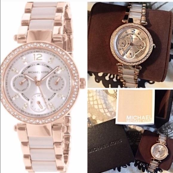 42 off Michael Kors Jewelry Mini Parker Rose Gold Watch Poshmark