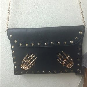 Skeleton hands black studded clutch/ purse