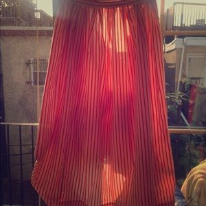 Vintage Stripe Button -Up Back Linen Skirt