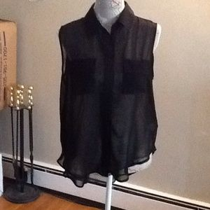 Dots Tops - Sheer black button front blouse with 2 pockets