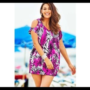 Slit tunic beach cover-up 