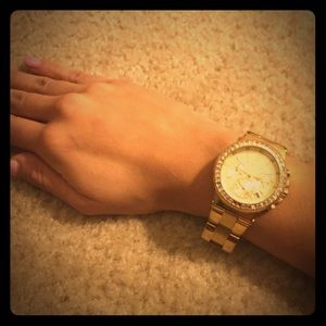 Beautiful Michael Kors Gold Watch Crystals Bling