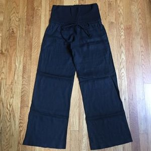 Black Fold Over Linen Pants