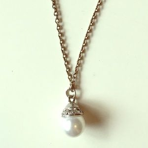 Upcycled Pearl Rhinestone Pendant Necklace Silver