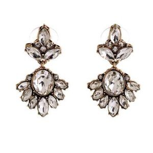 Elegant Floral Crystal Drop Earrings