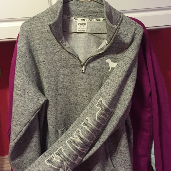 20% off PINK Victoria's Secret Sweaters - Marled Gray Half Zip ...