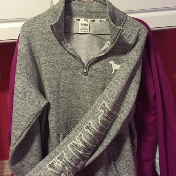 20% off PINK Victoria's Secret Sweaters - Marled Gray Half Zip ...