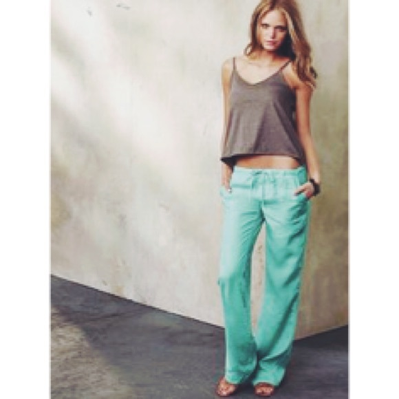 63% off Victoria's Secret Pants - Victoria's Secret mint linen ...