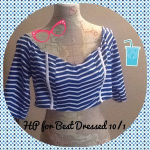 Dots Tops - 🎉HP🎉for Best Dressed Dots blue & white crop top