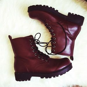 H&M Boots - Maroon combat boots