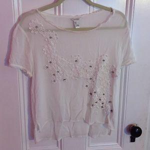 White boho lace embellished top
