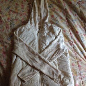 White light weight zip up jacket