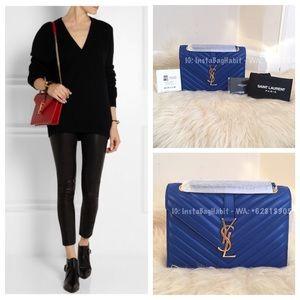 64c6402ad77d classic large monogram saint laurent college bag in navy blue matelasse  leather