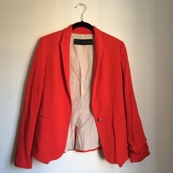 81% off Zara Jackets & Blazers - Zara Basic poppy red stretch ...