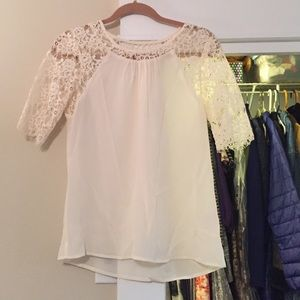 Madewell silk & lace cream colored top