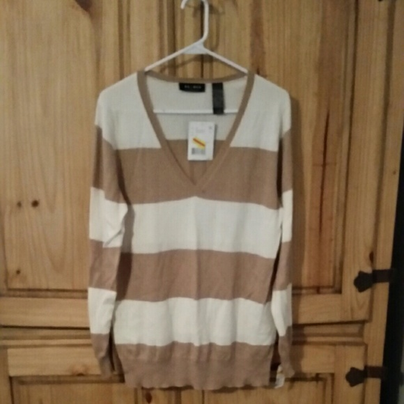 73% off Axcess Sweaters - NWT ladies Axcess tan and white striped ...