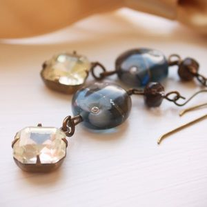 Jewelry - Handmade one of a kind brass and lampwork earrings