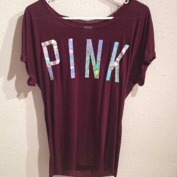 40% off PINK Victoria's Secret Tops - VS PINK burgundy t-shirt ...