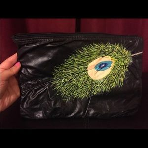 Hand painted peacock clutch