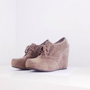 Fergalicious Shoes - Fergalicious // Laser Cut Suede Wedges