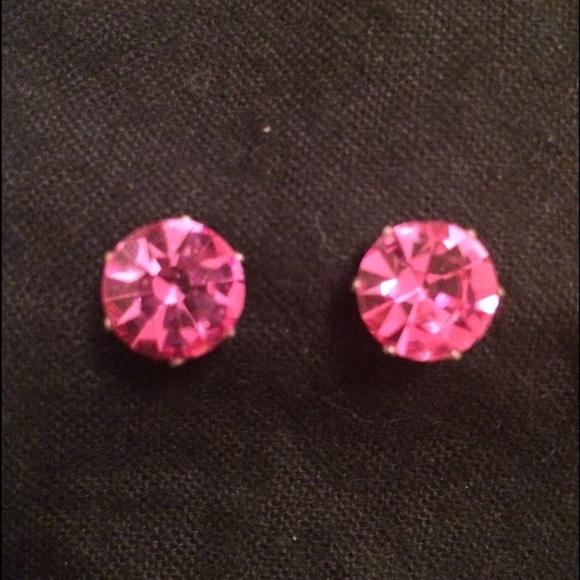 Jojo Loves You Earrings Jojo Loves You Pink Bling Stud
