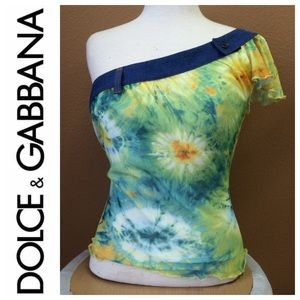 D&G DOLCE GABBANA Tie Dye One Shoulder Top